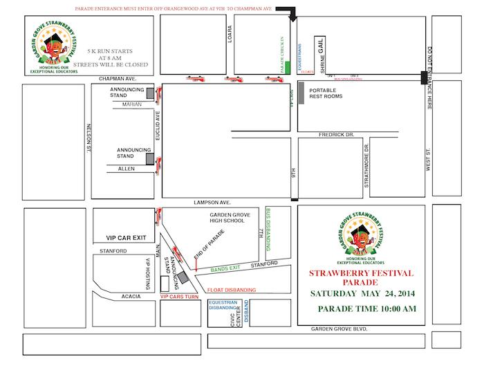 Parade route for 2014 Garden Grove Strawberry Festival