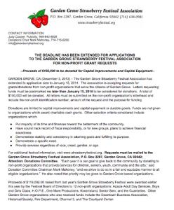Garden Grove Strawberry Festival Donations Press Release