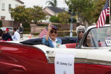 Sammy Lee in in Garden Grove Strawberry Festival parade